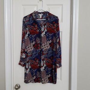 H&M long button down printed blouse